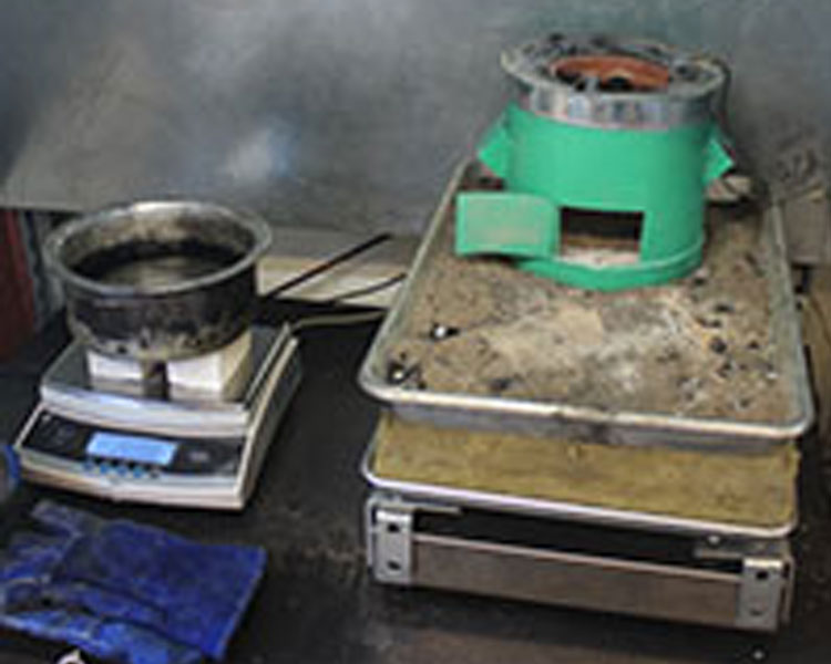 "HFI partner Green Bio Energy's ""Briketi"" cookstove is prepared for testing"
