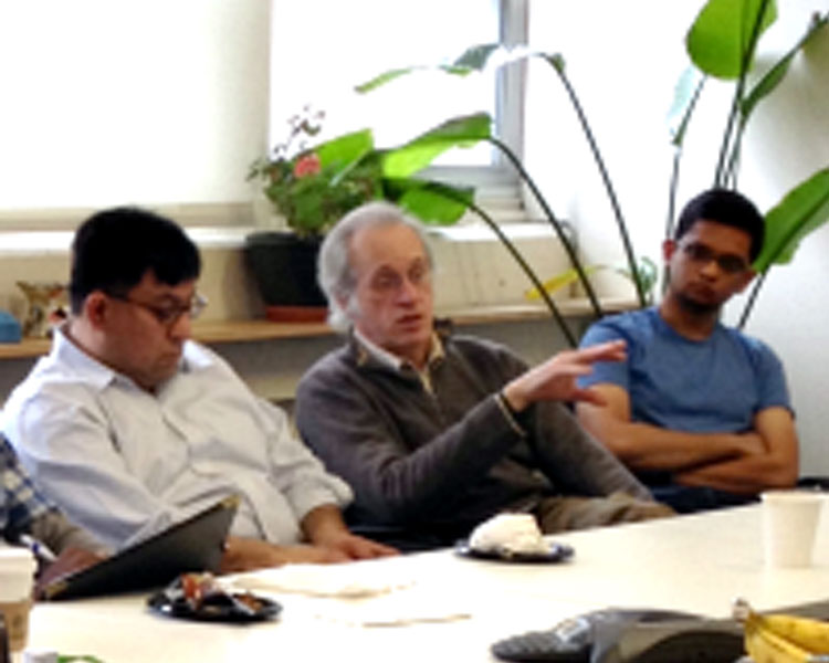 (l-r) Jose Pacheco of the MIT Masters in Manufacturing Engineering program, D-Lab staff member Gwyn Jones, Scale-Ups fellow Sidhant Pai (Protoprint)