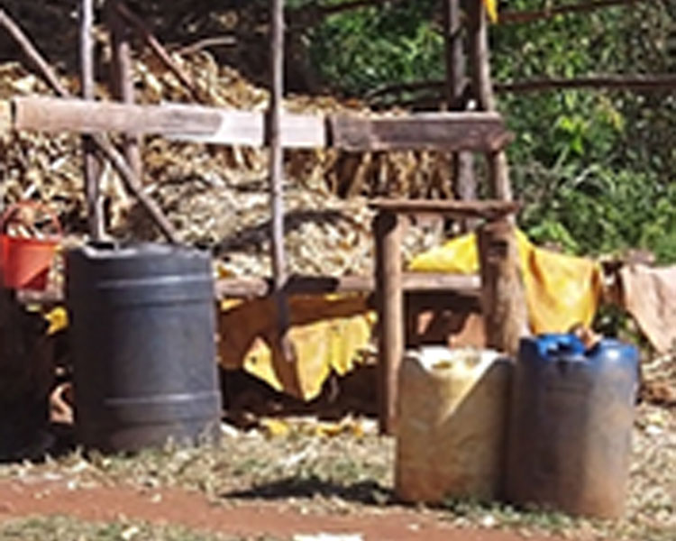 Water storage containers in rural Kenya
