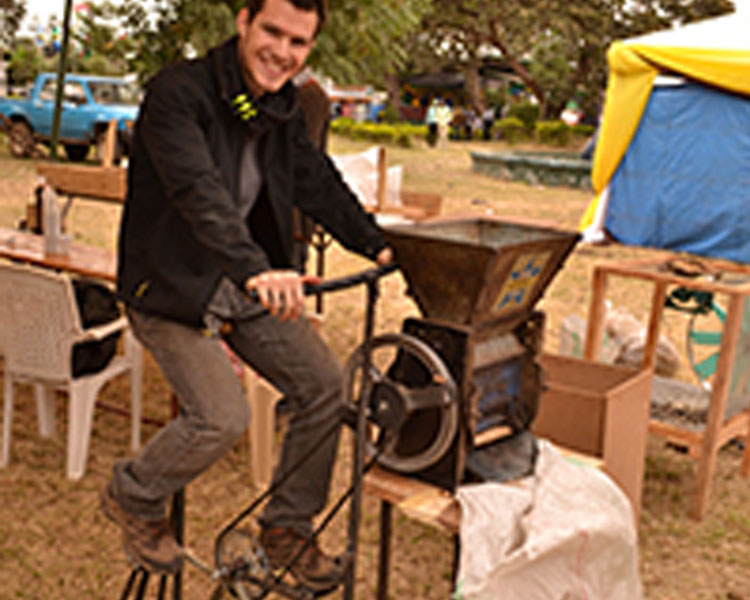 Bicycle-powered coffee sheller developed at the 2014 International Development Design Summit