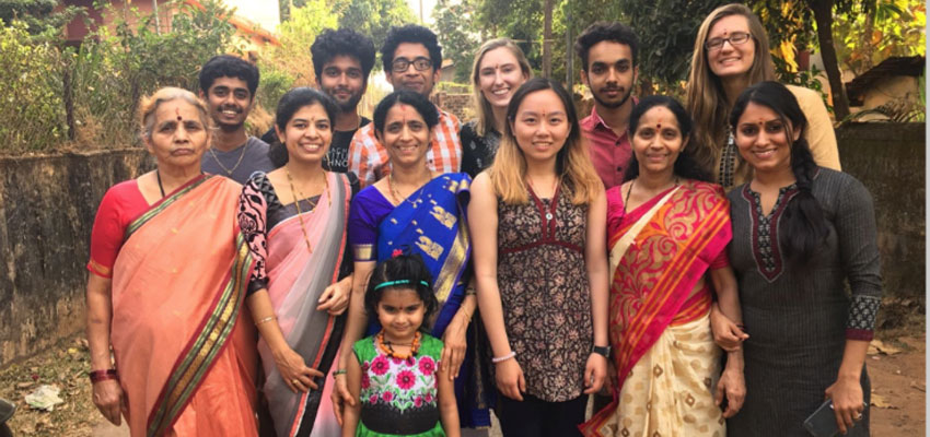 MIT team and Megha's family after the Puja.