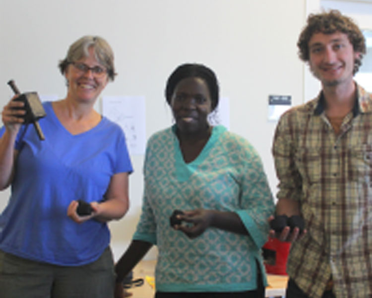 D-Lab founder Amy Smith (left), TEWDI director Betty Ikalany (center), D-Lab reseaarch scientist Dan Sweeney (right).
