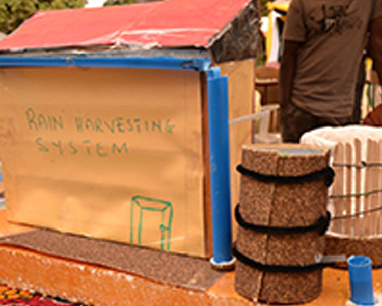 Mock-up of rainwater harvesting system developed at the 2014 International Development Design Summit (actual prototype left in community)
