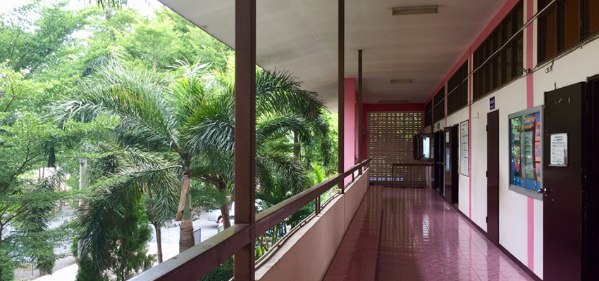 The hallway to classrooms at the Wat Dam Rong Boon School