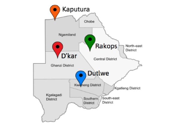 Map of Botswana showing the location of the four villages where the summit is taking place. Participants are working in teams of 3-4 people, and each team will spend a full week in each village co-creating, gathering information and obtaining user feedback led by their instructors, design facilitators and community liaisons at the local innovation centers.