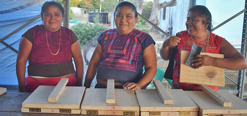Some of the women of Colonia Juarez with the totopo makers we helped design and prototype that they built. We actually stayed in the home of Elva, the woman in the middle!