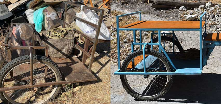 The old cart (left) and the redesigned cart (right).