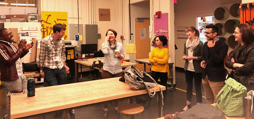 Ecosystem Builder Fellows and MIT D-Lab practitioners share a light moment. On the walls of this seemingly scrappy tinkering space, one can find tools of all shapes and sizes — that are used by innovators at MIT to come up with ingenious solutions to pressing global challenges.