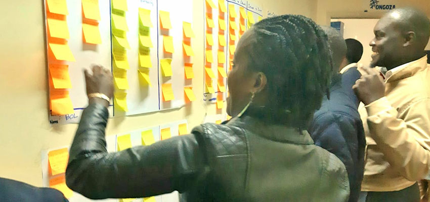 "The Ongoza Staff takes a ""Gallery Walk"" to vote on Theory of Change assumptions that resonated with staff members"